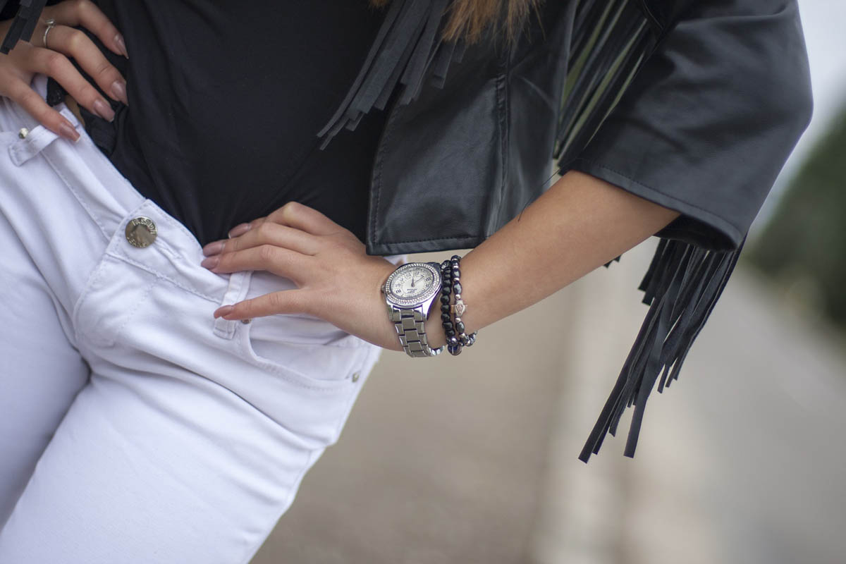 Frau Fransenjacke Jeans