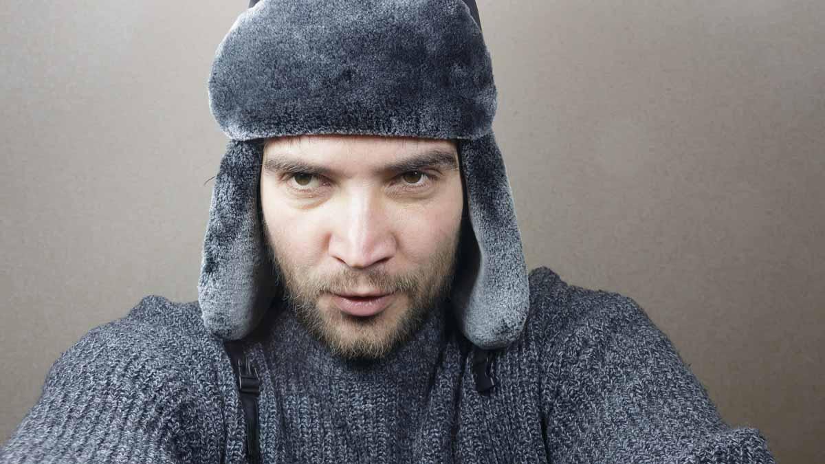 Mann Rollkragenpullover Mütze