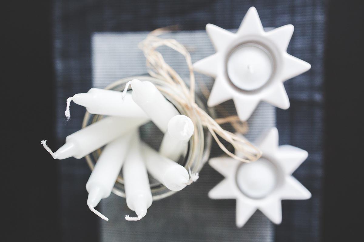 Kerze Weiß Stern