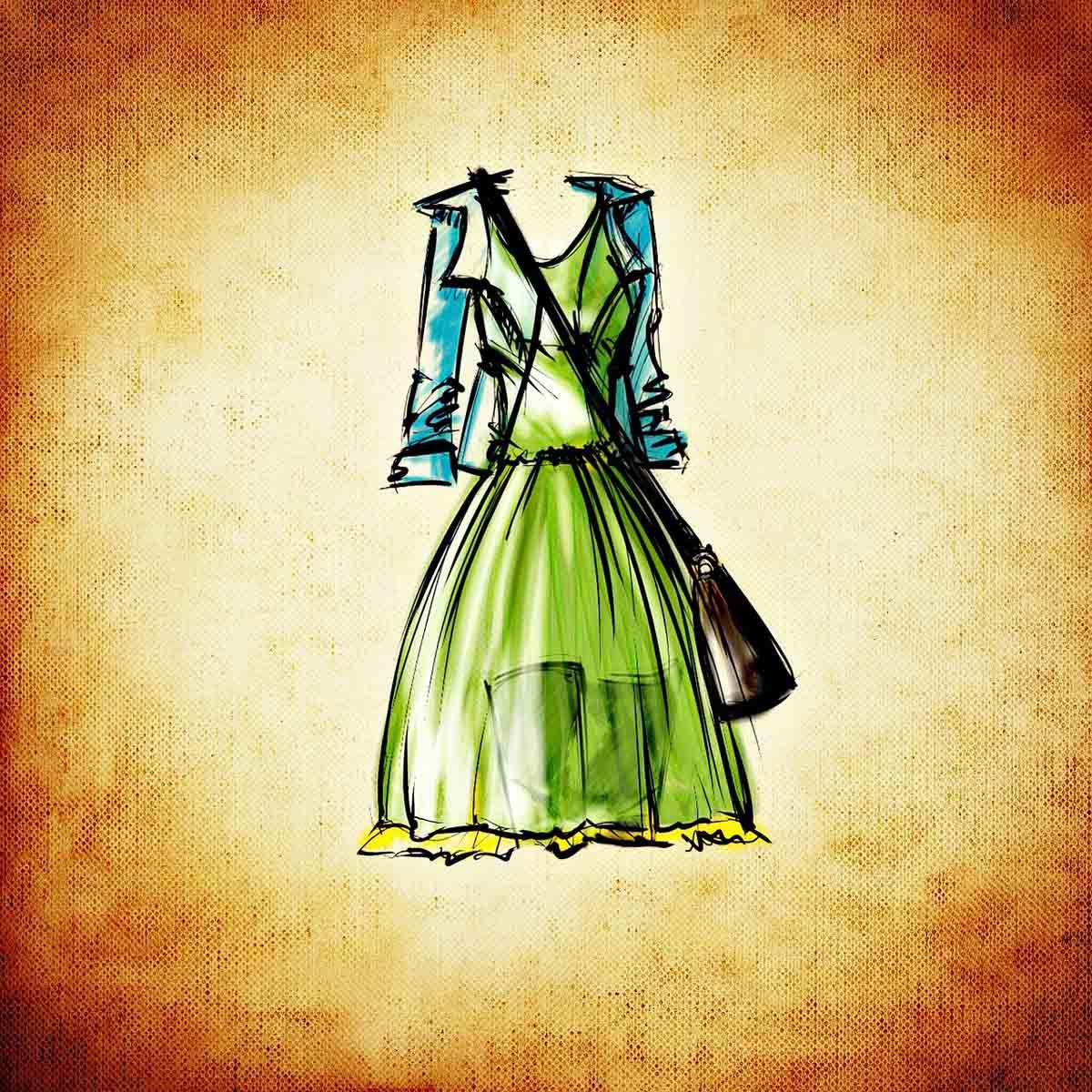 Kleid Grün Zeichnung
