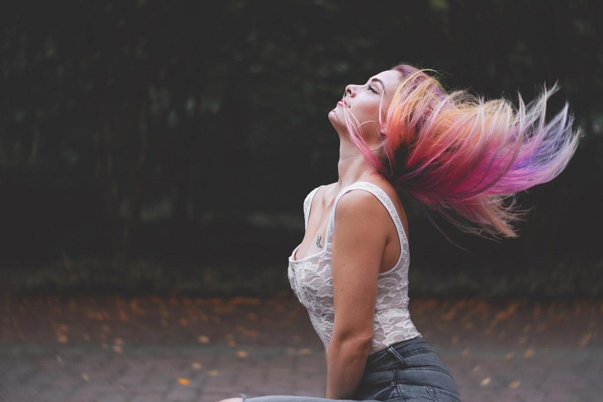 Regenbogen Haare bunt