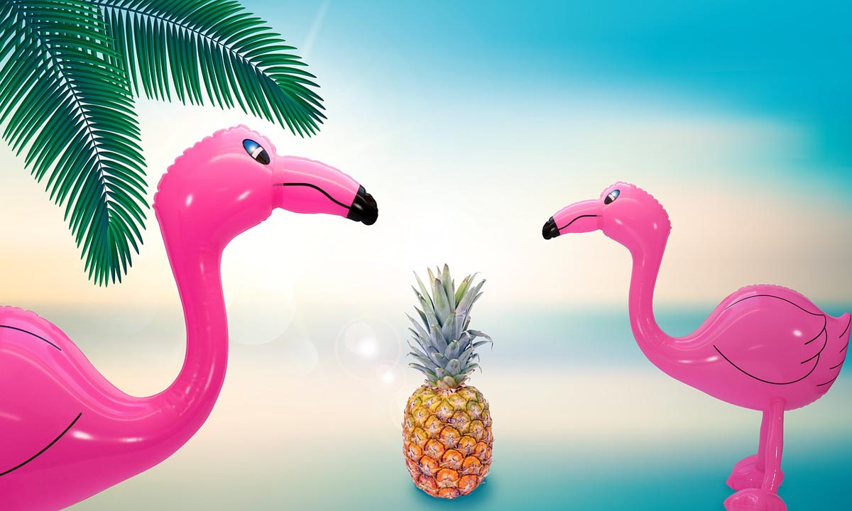 Flamingo Ananas Palmen