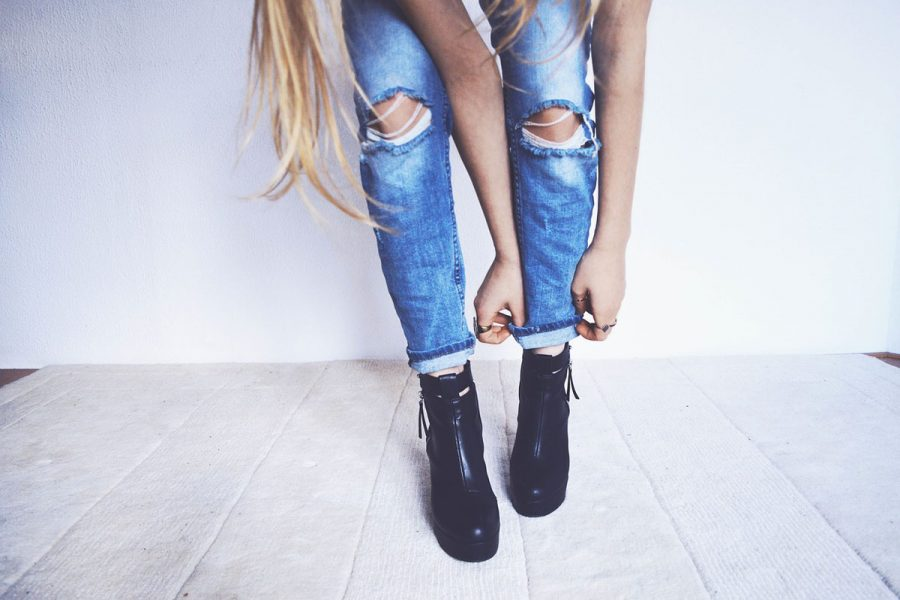 UsedLook Jeanshose Stiefel