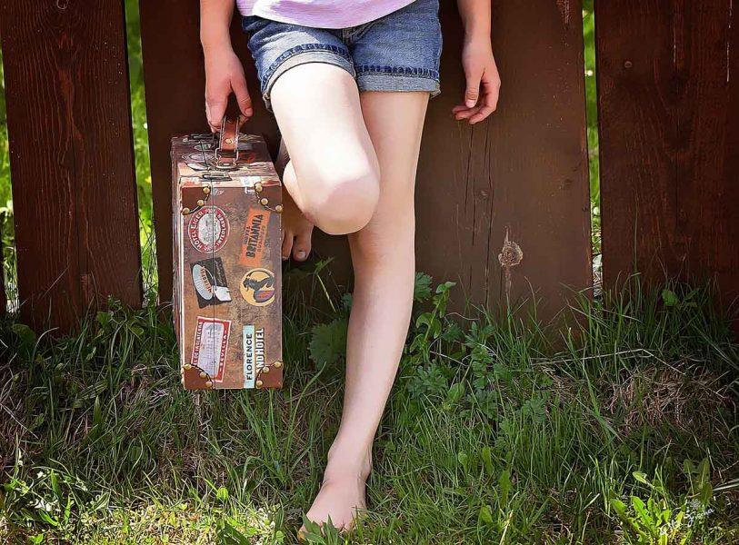 Koffer Shorts Beine