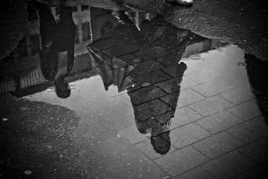 Regen Straße Grau
