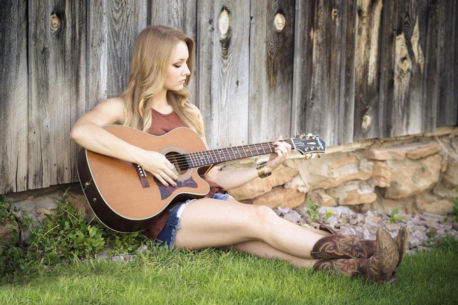 gitarre Cowboy Stiefel Frau
