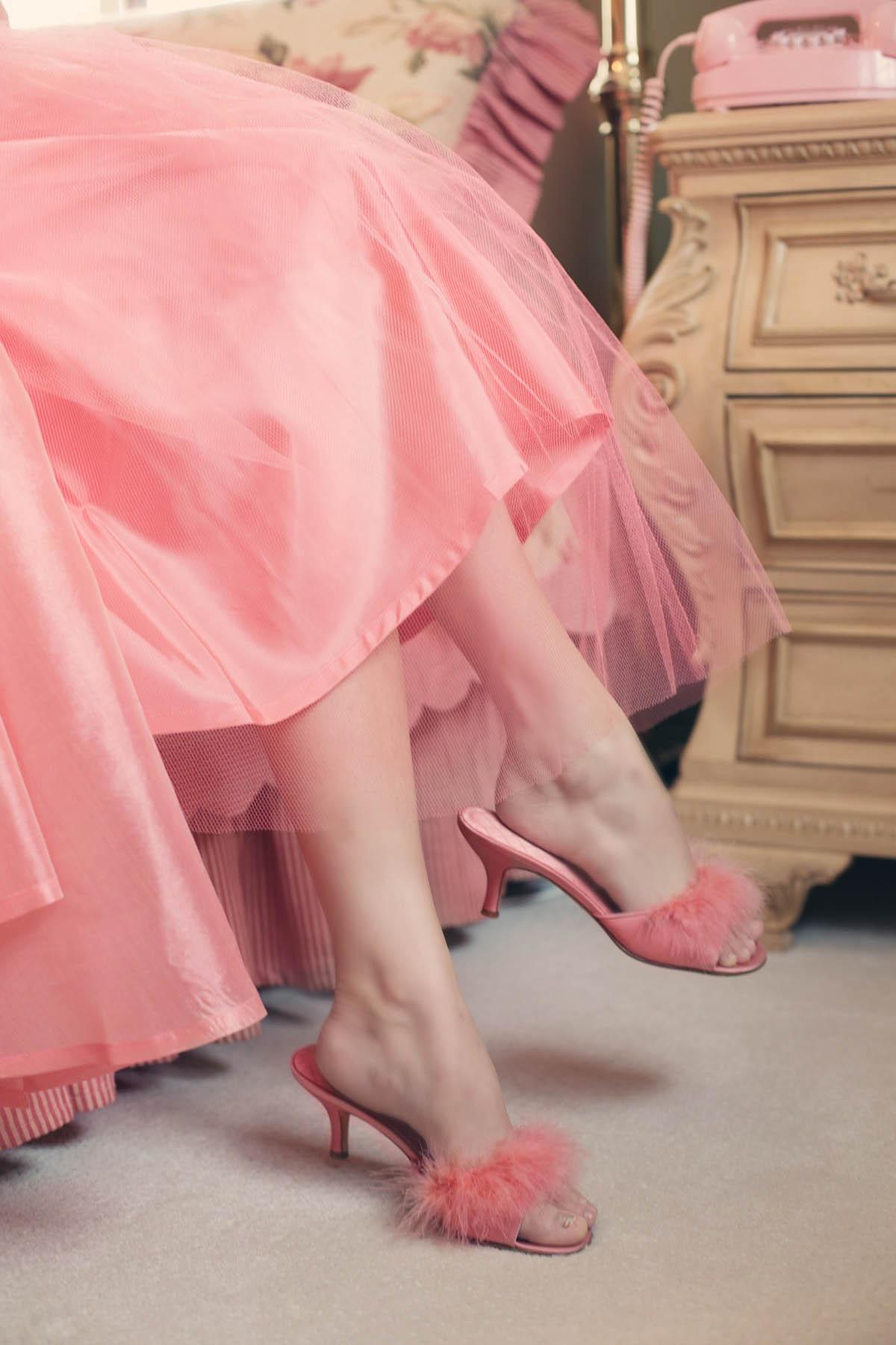 pantoletten pantoffeln federn rosa