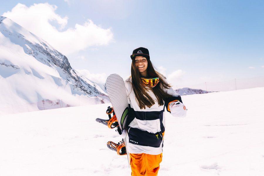 snowboard burton frau schnee